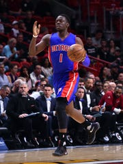 Pistons guard Reggie Jackson dribbles against the Heat earlier this season.