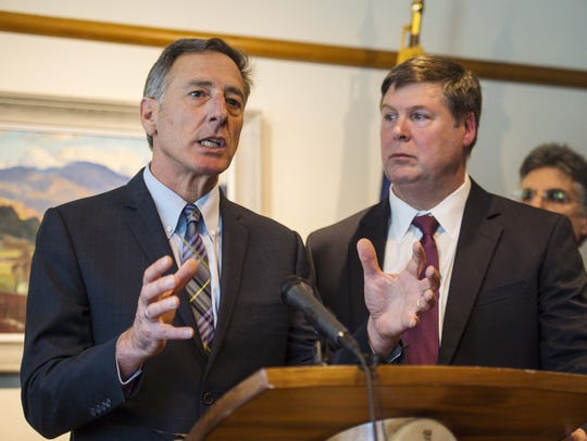 Gov. Peter Shumlin, left, and Al Gobeille, chairman