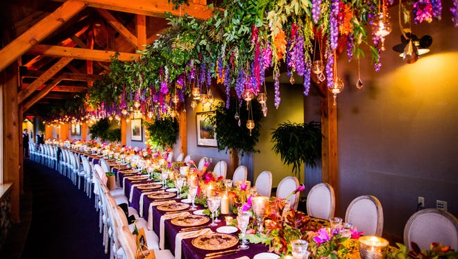 Details from a lush reception at The Lodge at Welch Allyn in Skaneateles, designed by Stacy K Floral.