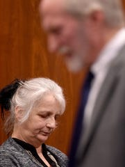 Linda Buckner takes the stand in her own defense Tuesday as she is questioned by her attorney Mark Cockley.