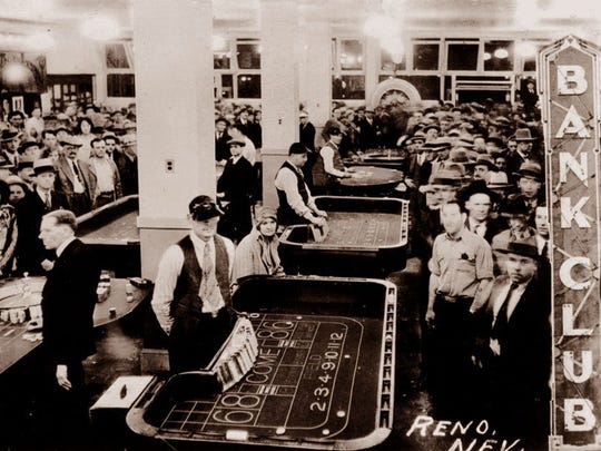 Reno's Bank Club in the 1930s, when Nevada legalized gambling.