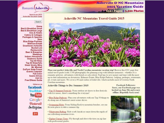 RomanticAsheville.com, a popular local travel and vacation website, recently got a redesign. Here is what the website looked like before.