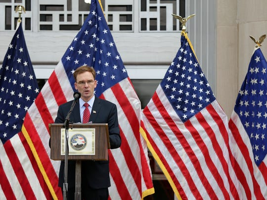 Outagamie County Executive Tom Nelson speaks during a Veterans Day ceremony Wednesday, November 11, 2015, at the Outagamie County Administration Building in Appleton, Wis. Dan Powers/Post-Crescent Media