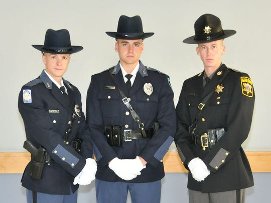 Wicomico County law enforcement officers who graduated from the Eastern Shore Criminal Justice Academy are, from left, Shawn C. Engelbrecht, Jimmie L. Howard IV and Cameron S. Gardner.