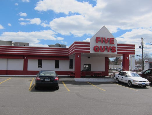 Five Guys outlets come in all shapes and sizes, from strip mall storefronts to freestanding restaurants like this one.