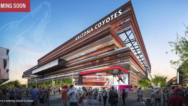 An artist rendering of the exterior of the new Coyotes arena in Tempe, Ariz. This is only a rendering and is subject to change.