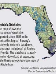 Sinkhole map from the Florida Geographical Survey shows
