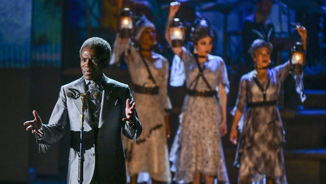"Andre De Shields and the cast of ""Hadestown"" perform at the 73rd annual Tony Awards Sunday at Radio City Music Hall. De Shields took the award for featured actor in a musical, and ""Hadestown"" was the big winner of the evening, winning eight Tonys including best musical."