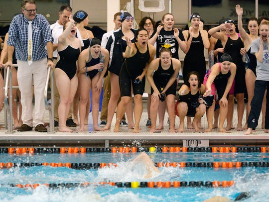 Dallastown girls and coaches cheer on their teammates
