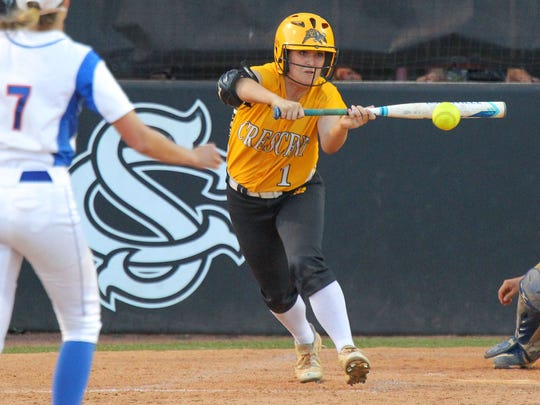 Crescent right fielder Ryleigh Davis bunts playing