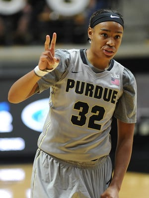 Purdue freshman Ae'Rianna Harris is approaching a record held by one of her coaches, Lindsay Wisdom-Hylton.