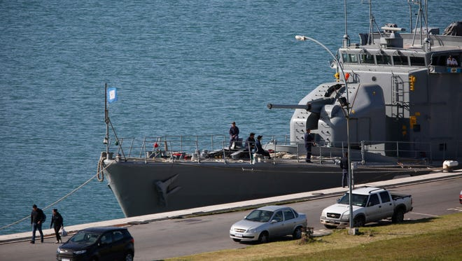 A view of the entrance of the Navel base of the missing submarine ARA San Juan where family members of the missing vessel are gathering, in Mar del Plata, Argentina, on Nov. 20, 2017.