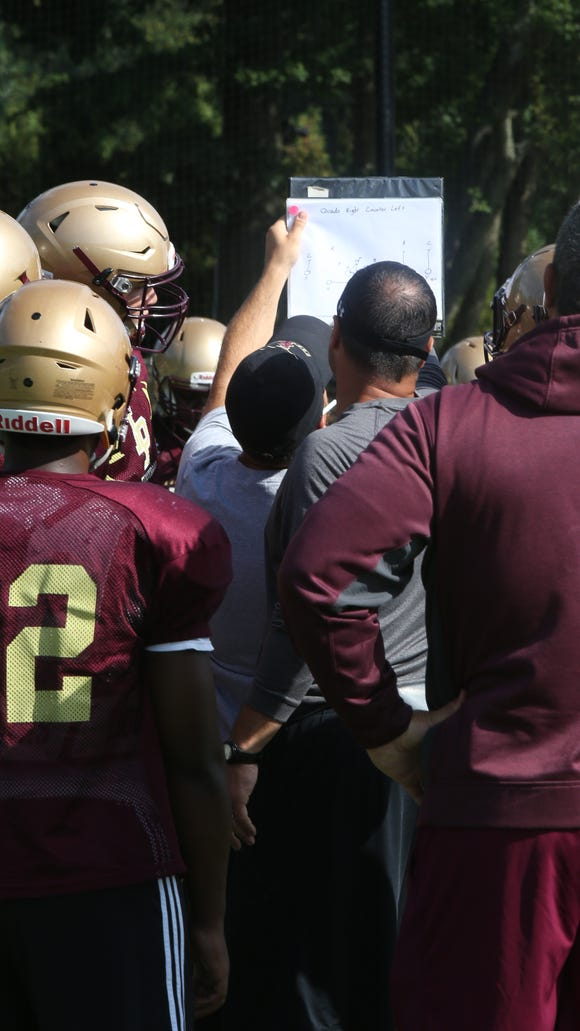 Football practice at Iona Prep High School in New Rochelle