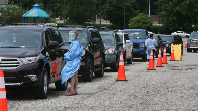 Cars line up as people wait to get tested for COVID-19 in the parking lot of The House of the Lord on June 27, 2020 in Akron.  Summit County Public Health and Summa Health partnered with House of the Lord for the first of several community testing events open to the general public to test for COVID-19. About 4.6 percent of those tested during the event tested positive, public health officials said.