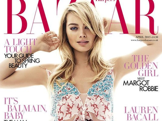 Margot Robbie on the cover of Harper's Bazaar