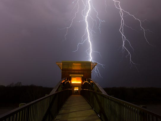 Thunderstorms blow through Montgomery, Ala.,on Tuesday,