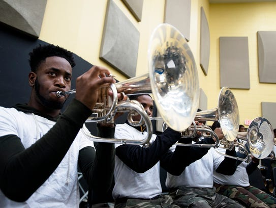 Alabama State Marching Band members practice on Wednesday,