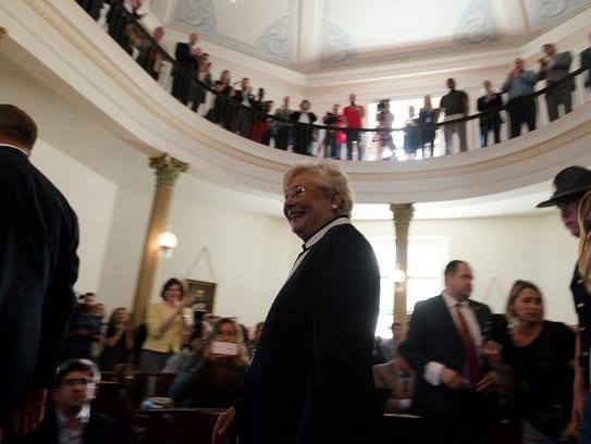Governor Kay Ivey speaks after being sworn in as Alabama's