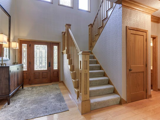 The two-story entry is impressive at 20562 Victoria