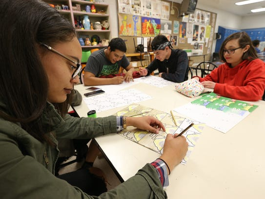 Mya Rouse works on an assignment in her art class at Socorro High School, which will be rebuilt under the recently approved $48.5 million SISD bond.