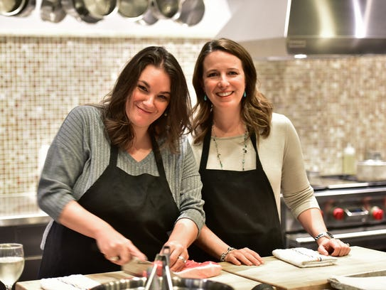 Lisa and Kelly ready to start the hands-on cooking