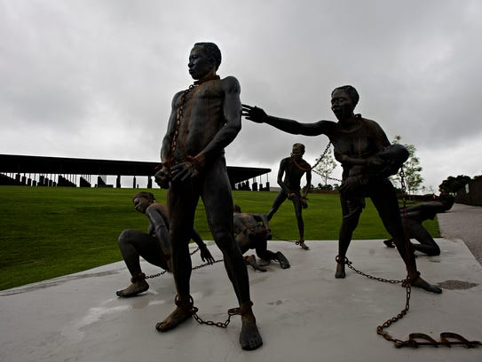 A sculpture at EJI's National Memorial for Peace and