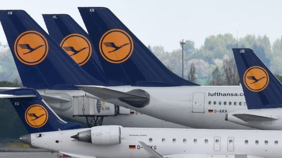 Lufthansa aircraft are parked April 27, 2016, on the