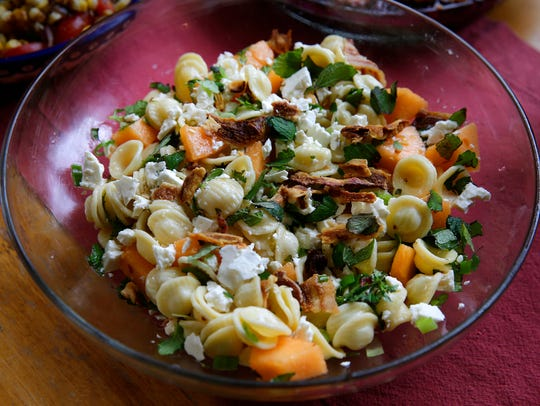 Pasta Salad with Melon, Pancetta and Ricotta Salata.