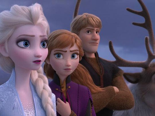 """From left, Elsa, voiced by Idina Menzel, Anna, voiced by Kristen Bell, Kristoff, voiced by Jonathan Groff, and Sven are seen in a scene from """"Frozen 2."""""""