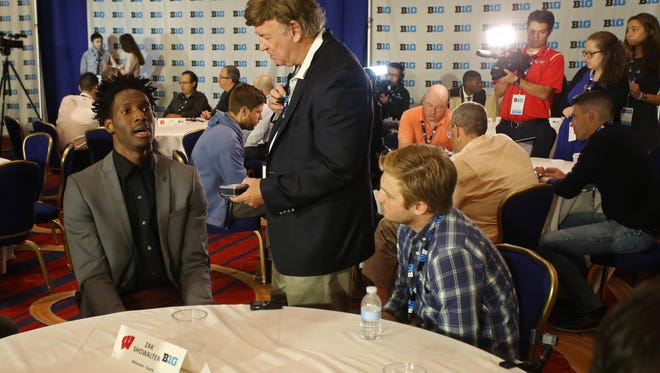 Wisconsin Badgers star Nigel Hayes at Big Ten media day in Washington.