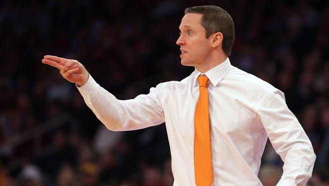 Florida Gators head coach Mike White reacts during the first half against the Wisconsin Badgers in the semifinals of the East Regional of the 2017 NCAA Tournament at Madison Square Garden.