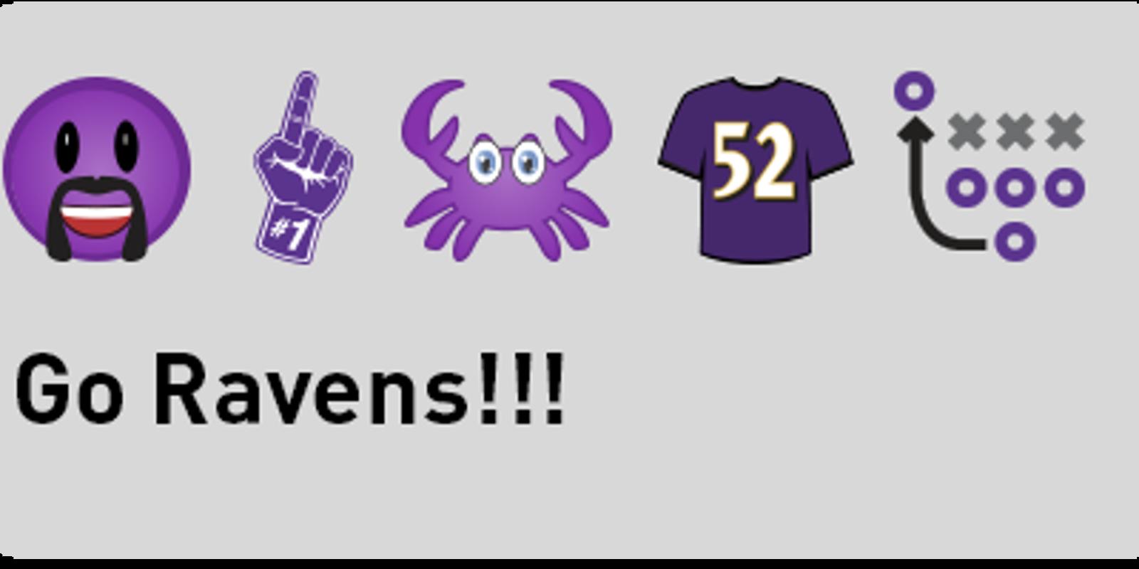 Happyface emoticon: Ravens emojis are here