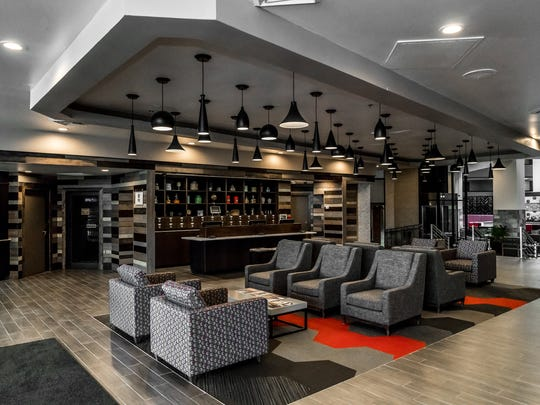 The lobby at the remodeled Four Points by Sheraton Detroit Novi
