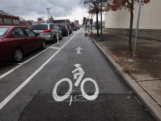 A view of the Central Parkway bike lane near Findlay