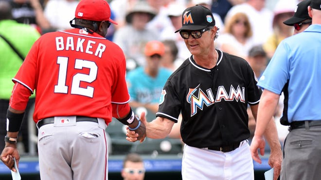 Mar 4, 2016; Jupiter, FL, USA; Washington Nationals manager Dusty Baker (left) greets Miami Marlins manager Don Mattingly (center) at home plate before their spring training game at Roger Dean Stadium. Mandatory Credit: Steve Mitchell-USA TODAY Sports