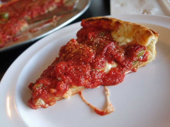 Deep dish pizza at Vito's Pizza
