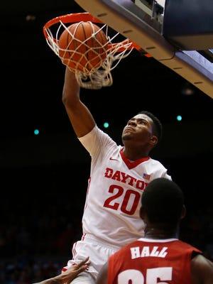 Dayton forward Xeryius Williams dunks the ball against Alabama.