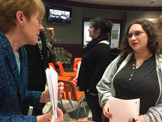 Kathy Loyd talks to interested students