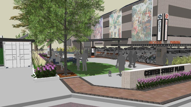 Artist's rendering of the future Royal Oak Smart Park, a patch of the downtown with grass and public art.