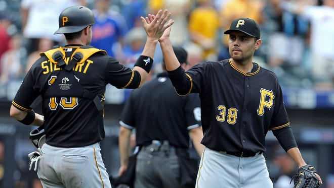 Pittsburgh Pirates relief pitcher Joakim Soria (38) celebrates after defeating the New York Mets at Citi Field.