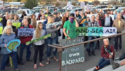 A rally was held before a special meeting Tuesday in front of the Grant County Administration Building. It was concerning adding airspace over the Gila National Forest and Wilderness areas for Holloman Air Force's F-16 jets.