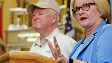 United States Senator Claire McCaskill (D-MO) speaks to media on the findings of her latest Veterans Costumer Satisfaction Program survey during a press conference at the American Legion Post 639 in Springfield, Mo. on May 31, 2016.