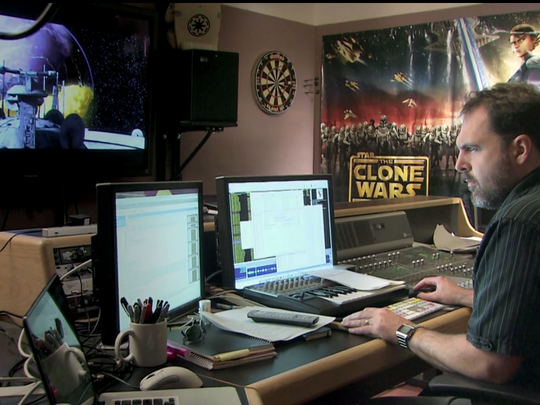 "Oscar-nominated ""Star Wars: The Force Awakens"" sound editor David Acord working at Skywalker Sound."