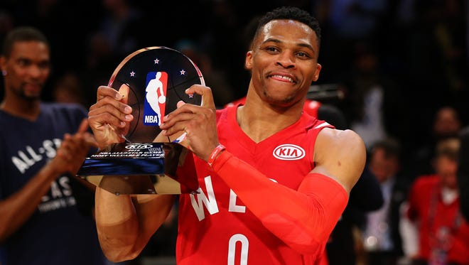 Russell Westbrook #0 of the Oklahoma City Thunder won the NBA All Star MVP. The jersey he wore had a Kia ad on it, and NBA owners approved jersey ads for regular season at their Board of Governors meeting.