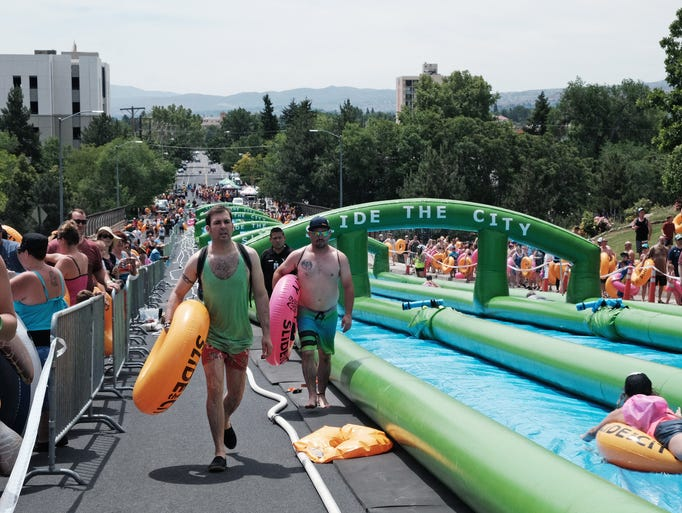 Event-goers at Slide the City on Saturday, June 4.