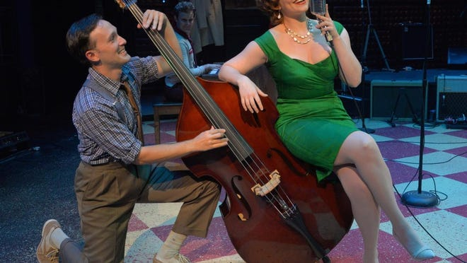 "Sam Weber as Brother Jay Perkins and Bligh Voth as Dyanne in Westchester Broadway Theatre's ""Million Dollar Quartet."""