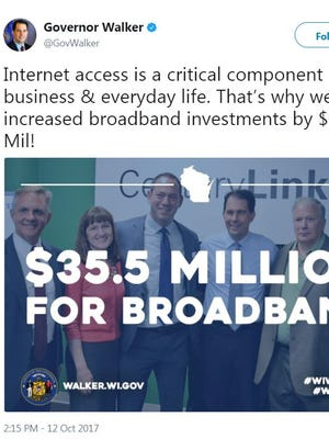 Gov. Walker sends out a tweet highlighting the $35.5M investment in expanding broadband service.