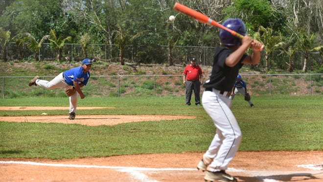 Yigo Thunders' Andrew Brown pitches against a Yigo Astros batter during their Guam PONY Baseball League game at Okkodo High School Field Complex in Dededo on July 16.