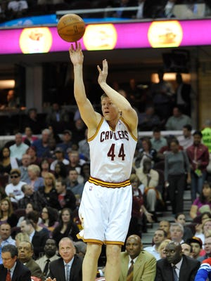 Apr 18, 2012: Cleveland Cavaliers forward Luke Harangody (44) shoots in the fourth quarter against the Philadelphia 76ers at Quicken Loans Arena.