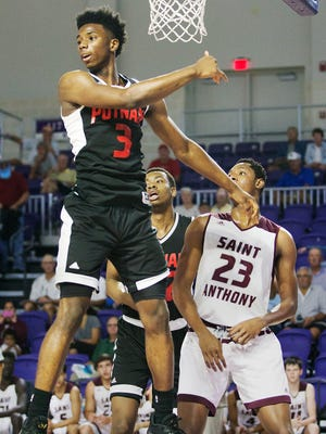 Putnam Science's Hamidou Diallo defends against St. Anthony during play Sunday at the Culligan City of Palms Classic at the Suncoast Credit Union Arena in Fort Myers.